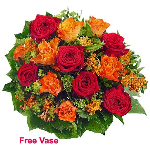 Sweet Emotions Red N Orange Roses Arrangement with Vase