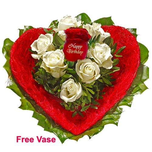 Passionate Heart Shaped Red Roses Bouquet for Birthday