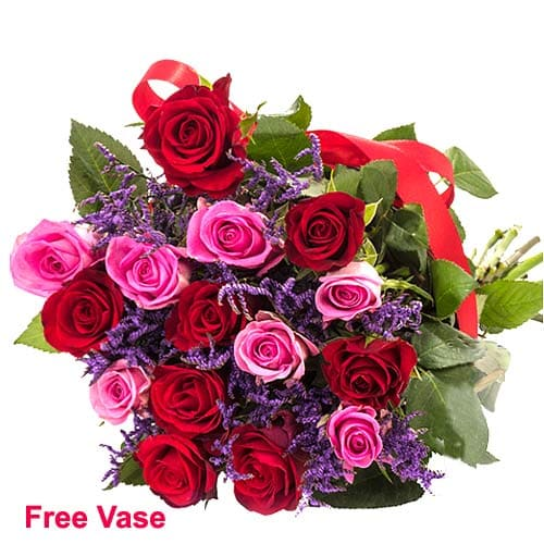 Magnificent Composition of Mixed Roses in Vase