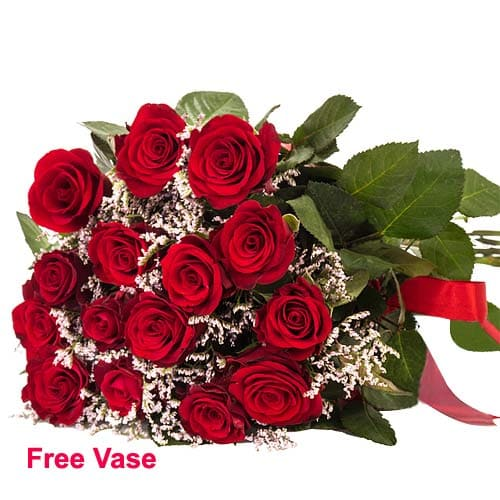 Lovely Floral Devotion Red Roses Arrangement in a Vase