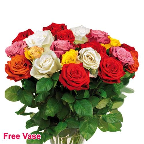 Blushing All Seasons Mixed Roses Bouquet with Vase