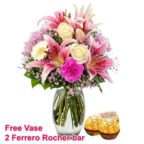 Sweet Surprise Colorful Flowers Bunch with Vase N Chocolates