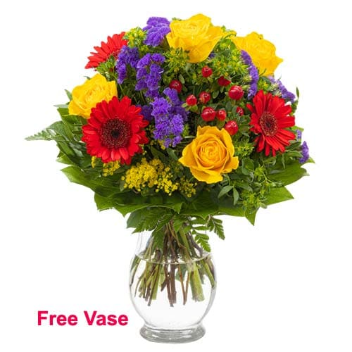 Dazzling Flora Jeweled Bouquet of Mixed Flowers in Vase