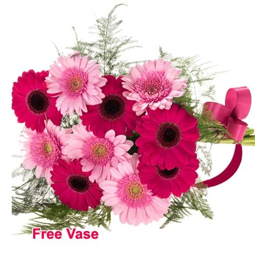 Classic Flora Jeweled Bouquet of Germini Flowers in a Vase