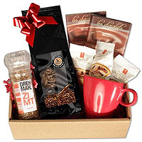Gorgeous Blooming Vibrancy Coffee N Cookies Delight Gift Basket