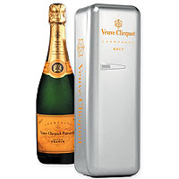 Enchanting Veuve Clicquot Brut Metal Fridge with Cooler<br>