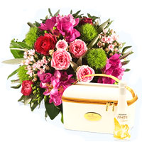 Classic Floral Presentation in Pink Red N Green with Schlumberger Case
