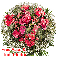 Majestic Gift Pack of Floral Bunch in a Vase with Lindt Lindor