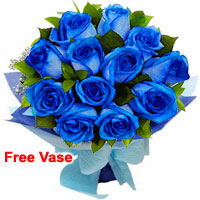 Bright Bouquet of Blue Roses
