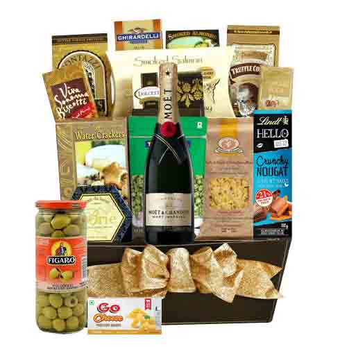 Enchanting Gift of Moet, Chandon Champagne and Gourmet Cheese