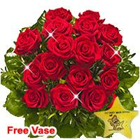 Chic Red Roses with Cuddly Star Shaped Pillow